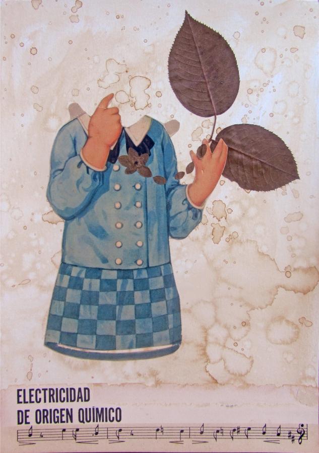 Electricidad de orígen químico_Laura ups, collage, music, almas gemelas, vintage paper, flores secas