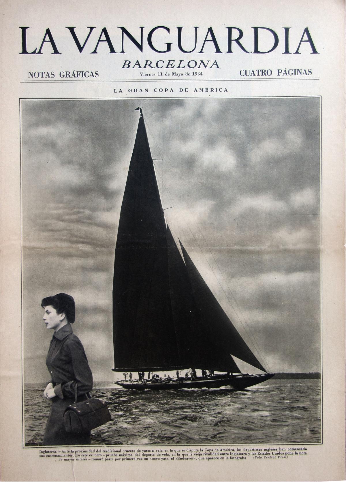 La Vanguardia, vintage paper, newsppaper, Antiguo, femenino, woman, velero, mar, evasión, collage, entreysalga, Laura UPS