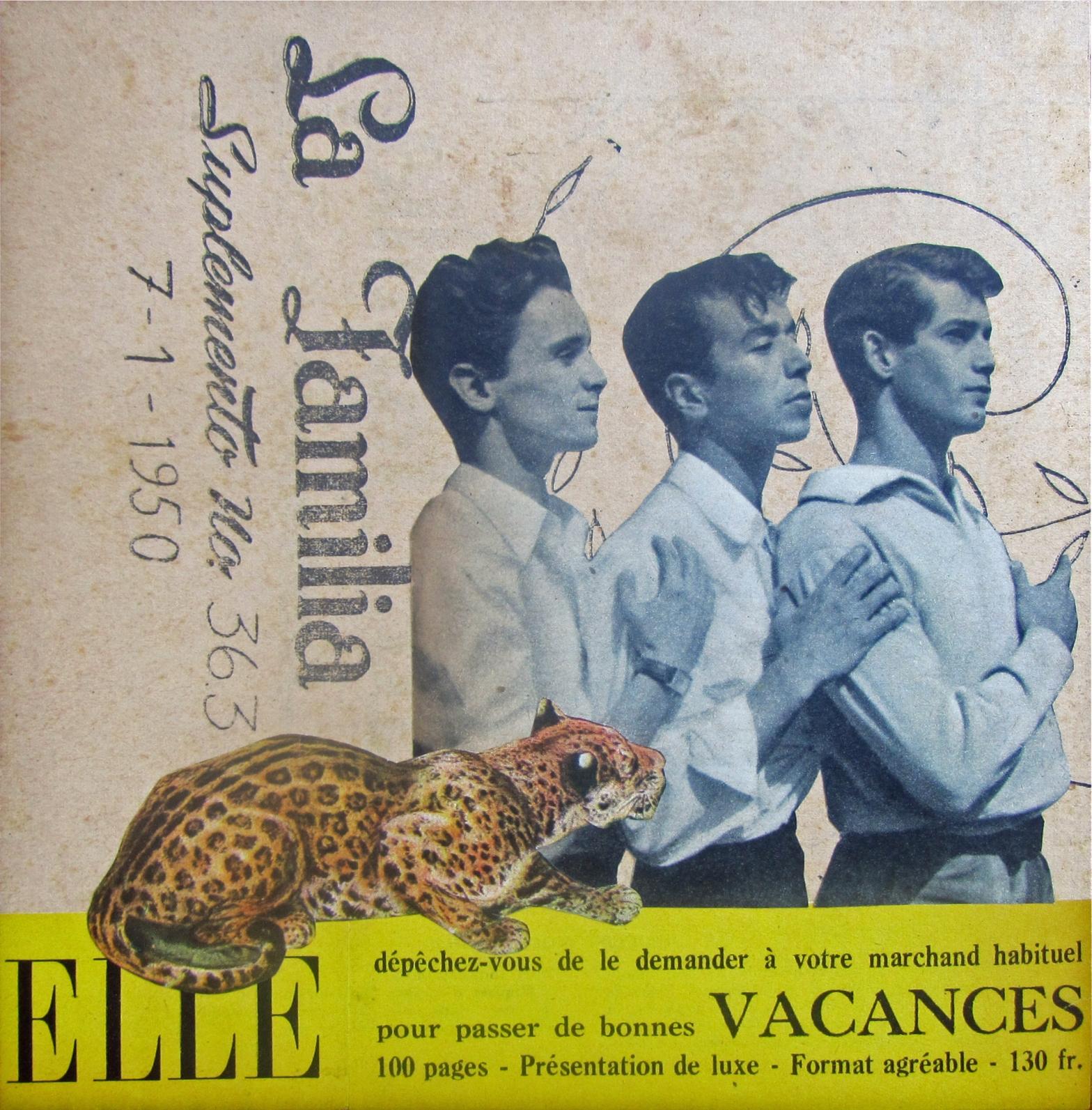 Elle, La familia, Laura UPS, collage, art, hipster, tigre, vacances suplemento