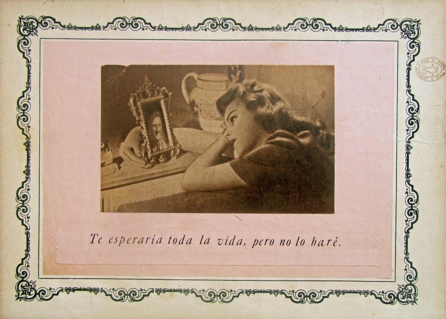 Laura UPS collage, romántica, love, amor, waiting, collage artwork, woman, femenino, female